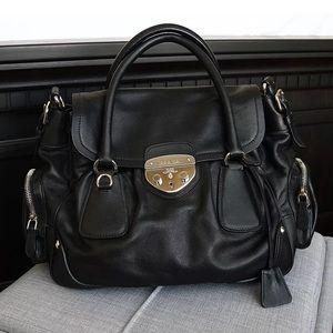 Prada black leather silver clasp satchel bag